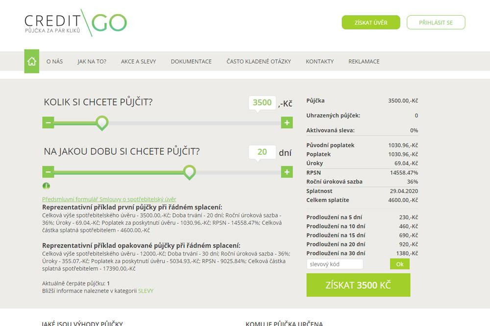Informace a recenze půjčky CreditGO